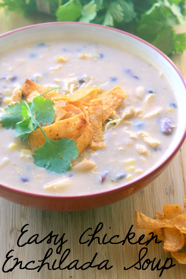 Creamy Chicken Enchilada Soup is the perfect soup for the days that are getting colder. This soup is sure to be a family favorite!