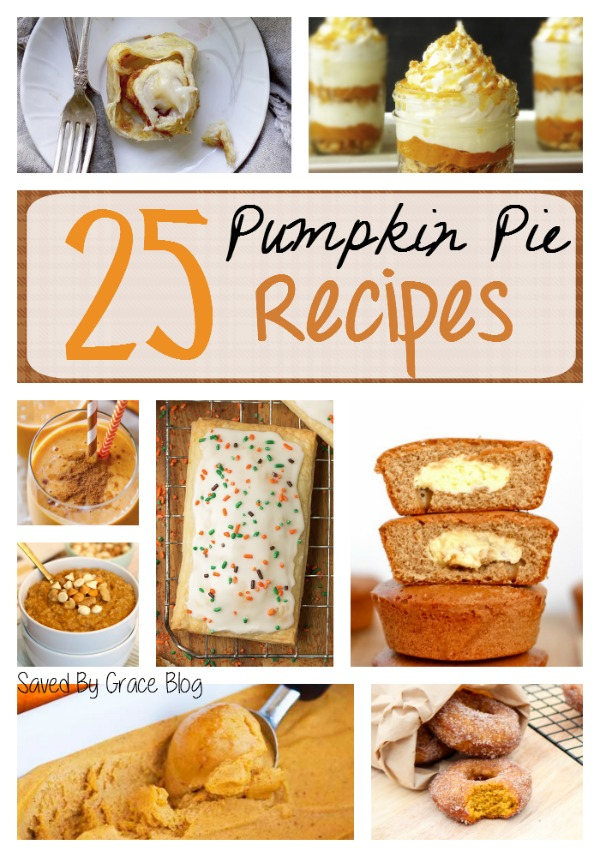 Pumpkin Pie Recipe Roundup- featuring 25 ways to enjoy pumpkin pie, easy pumpkin recipes and a few DIY pumpkin spice crafts, too!