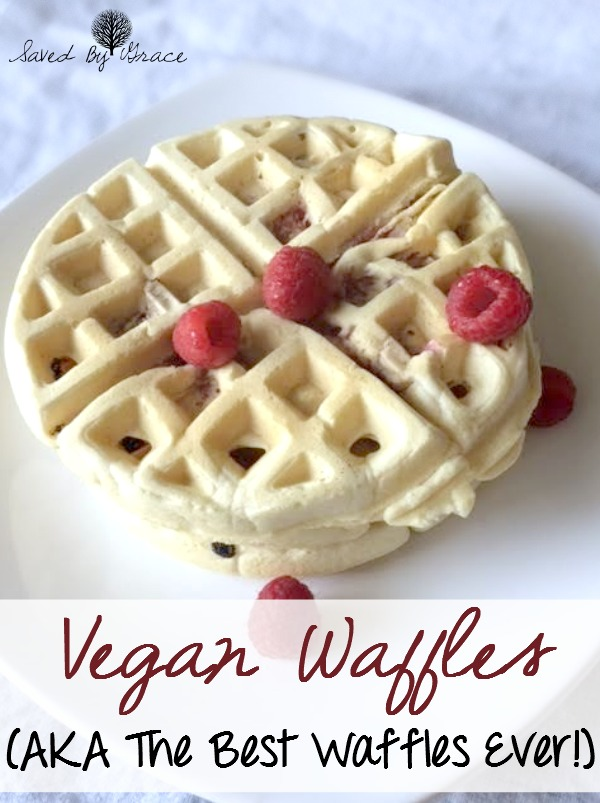 Vegan Waffle Recipe- these are the best waffles ever for both vegans and non-vegans alike! They are the fluffiest waffles you have ever had. Dairy free and Egg free!