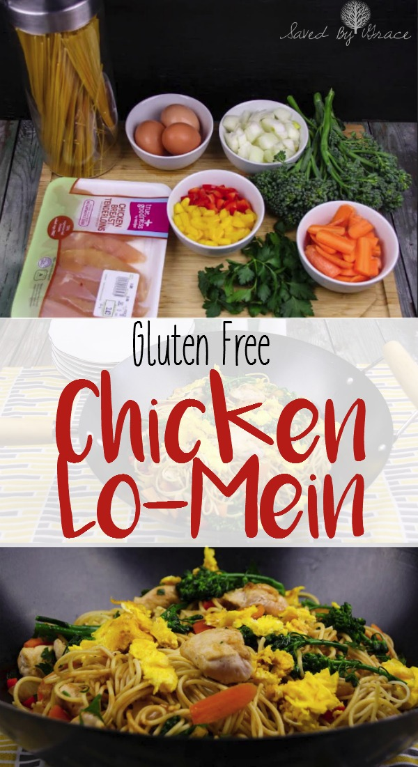 Gluten Free Chicken Lo Mein- this recipe is super easy to make in a hurry on a busy night. It is gluten free and a crowd pleaser.