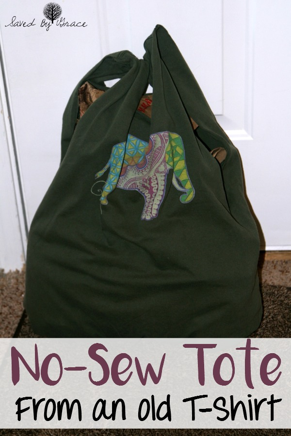 No Sew Tote from a T Shirt- This no sew tote bag is a fun craft to make with teens and tweens and a perfect way to use up favorite T-Shirts.