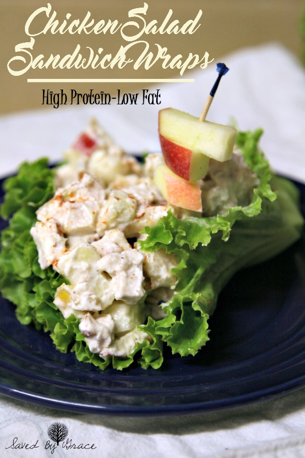 High Protein low fat chicken salad sandwich wraps
