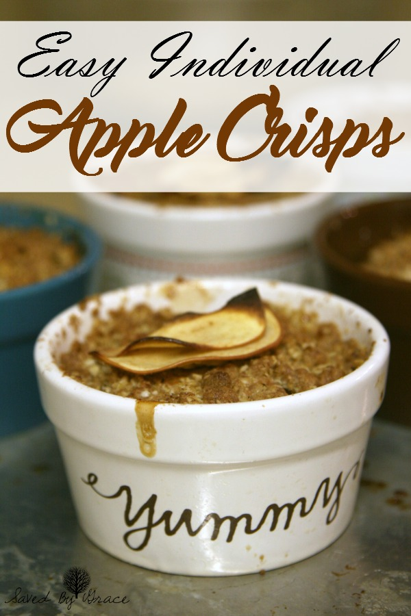 Individual Apple Crisp Recipe- Make this delicious apple crisp recipe in singles for a delightful warm treat with delicious vanilla bean ice cream on top.