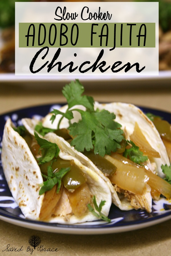 Crockpot Adobo Fajita Chicken Recipe- This spicy chicken recipe is sure to please heat lovers and it couldn't be easier to make in a slow cooker!