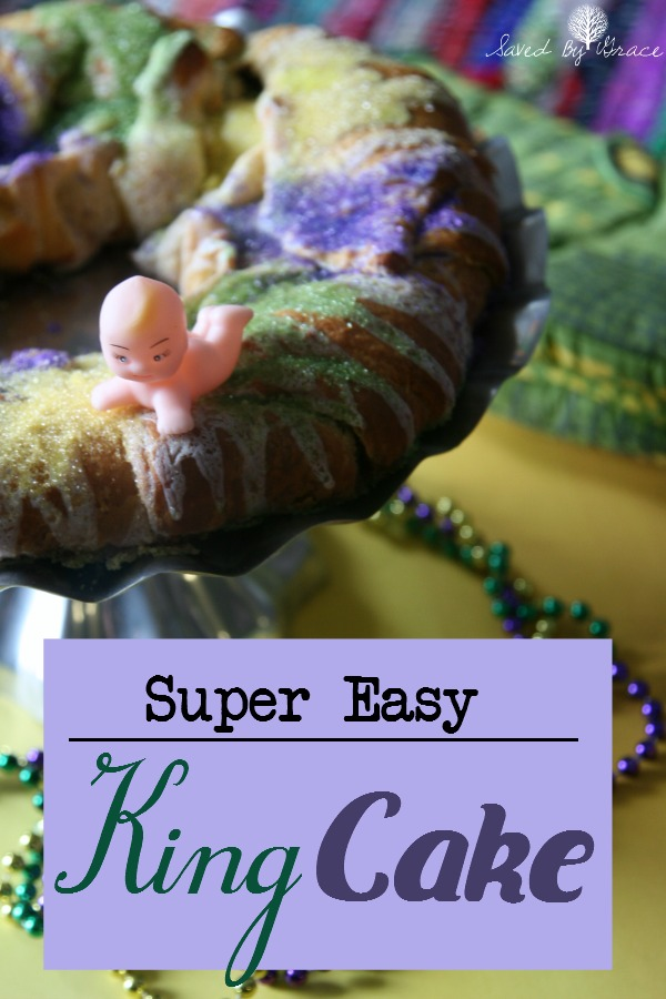 A Lazy King Cake Recipe- This easy to make king cake is semi-homemade and ready in just under 30 minutes.
