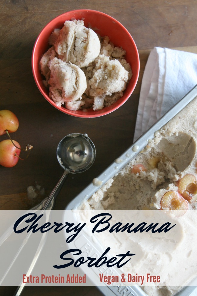 No-Churn Vegan Cherry Banana Sorbet with Added Protein- Welcome summer and some easy added protein with this no churn sorbet and Skylar Rae© Cherries.