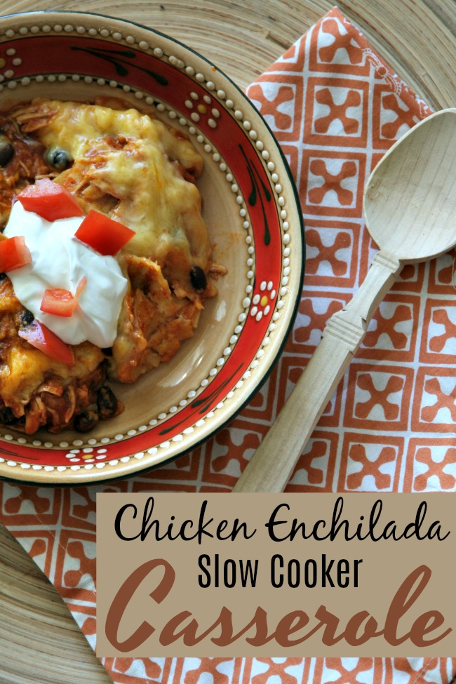 Slow Cooker Chicken Enchilada Casserole- This 6 ingredient easy recipe is perfect for busy fall nights and is sure to please everyone at the table!